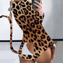 Sexy Printed Open Butt Functional Buttoned Flap Onesies MEM-8328