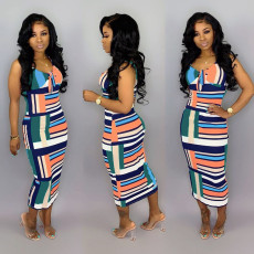 Fashion Sexy Striped Print Sleeveless Midi Dress DSF-6058