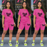 Pink Letter Print Casual Two Piece Short Sets TE-4198