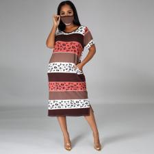 Casual Printed Short Sleeve O Neck Split Midi Dress With Mask CYA-8902