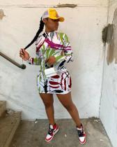 Graffiti Print Backless Sexy Long Sleeve Mini Dress YUF-9057