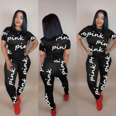 Casual Letter Print Short Sleeve Pants Two Piece Set NY-2085