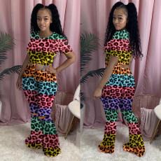 Plus Size Leopard Print Short Sleeve Flared Pants 2 Piece Sets YMF-8083