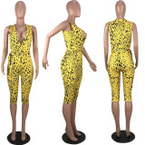 Leopard Sleeveless V Neck Sashes Calf Length Jumpsuits YMF-8042