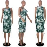 Sexy Sleeveless Split Lace Up Printed Dress YMF-8045