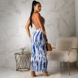 Sexy Tie Dye Print Halter Backless Maxi Dress YMF-8050