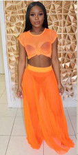 Sexy Short Sleeve Maxi Skirt Orange 2 Piece Sets YMF-8023