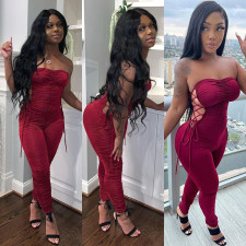 Sexy Lace Up Ruched Tight Tube Jumpsuits GLF-8124