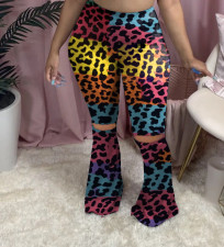 Plus Size Printed Hole Skinny Flared Pants YMF-8075