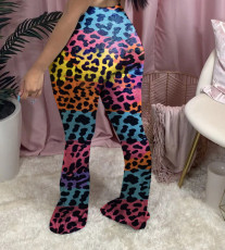 Plus Size Printed Hole Skinny Flared Pants YMF-8075