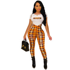 Casual Letter T-Shirt+Plaid Suspender Pants 2 Piece Sets AWYF-712