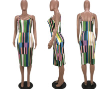Plus Size Colorful Striped Sexy Slip Midi Dress YMF-8011