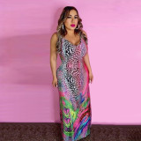 Colorful Printed Sleeveless Maxi Dress YMF-8044