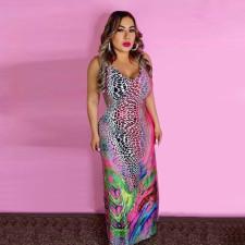 Colorful Printed Sleeveless Maxi Dress YMF-8044