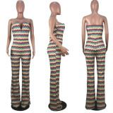 Waves Stripe Print V Neck Tube Top Jumpsuits YMF-8037