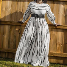Large Size Polka Dot Print Loose Straight Wide-leg Jumpsuit (Without Belt) NNWF-7047