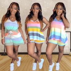 Plus Size Sports Casual Color Striped Print Vest Shorts 2 Piece Set MX-1125