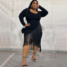 Plus Size Black Long Sleeve Tassel Sexy Nightclub Dress NNWF-7057