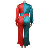 Large Size Contrast Color Splice Casual Jumpsuit NNWF-7023