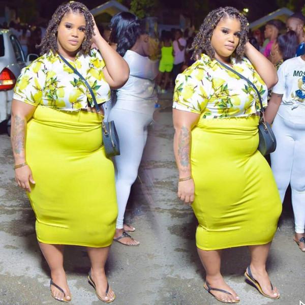 Plus Size Sexy Fashion Print Short Sleeve Long Skirt 2 Piece Set NNWF-7011
