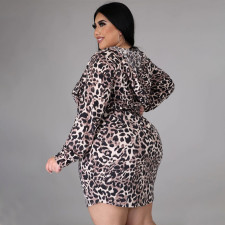 Plus Size Fashion Hooded Leopard Print Slim Long Sleeve Mini Dress NNWF-7049
