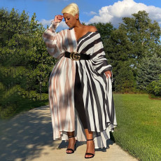 Plus Size Fashion Casual Striped Printed Long Sleeve Maxi Dress (Without Belt) NNWF-7013