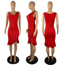 Sexy Red Sleeveless Ruffled Mermaid Dress YYF-6539