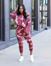 Tie Dye Print Long Sleeve Two Piece Pants Set YYF-6508