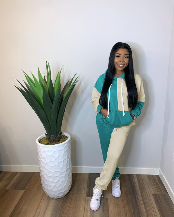 Casual Patchwork Hooded Tracksuit 2 Piece Sets YYF-6512