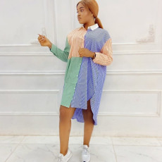 Casual Loose Striped Turndown Collar Shirt Dress YYF-6537
