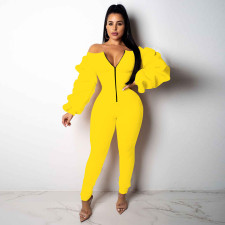 Long Sleeve Sexy Zip Slim Fit Jumpsuit SNF-8214