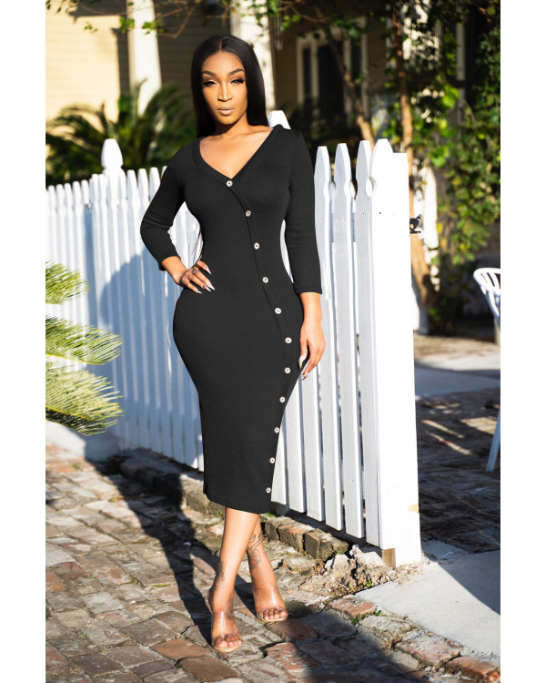 Sexy Rib V Neck Buttons Full Sleeve Slim Long Dress YYF-6507