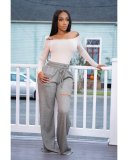 Casual Solid Hole Split Wide Leg Long Sweatpant YYF-6506