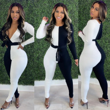Contrast Color Long Sleeve Sashes Jumpsuits BS-1247