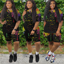 Plus Size Ink Jet Print Short Sleeve Two Piece Sets WAF-7141
