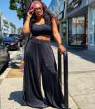 Fashion Casual Vest Wide Legs Pants Two Piece Set BDF-21026