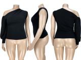 Plus Size Solid One Shoulder Tops ASL-7012