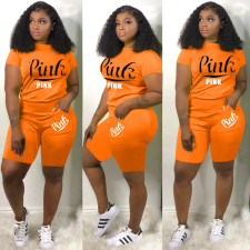 Plus Size Pink Letter Print Two Piece Shorts Set DYF-1059