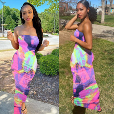 Tie Dye Plus Size Print Off Shoulder Strapless Long Tube Dress BGN-063