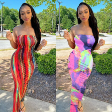 Plus Size Tie Dye Print Off Shoulder Strapless Long Tube Dress BGN-063