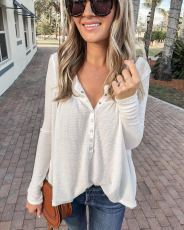Solid Long Sleeve Buttons Tops LSD-8194