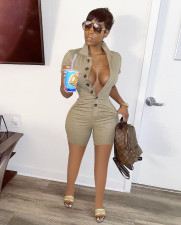 Sexy Solid Buttons Short Sleeve Cargo Rompers LSD-8730