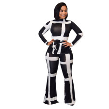 Casual Long Sleeve Sashes Top And Pants 2 Piece Sets LSD-8646