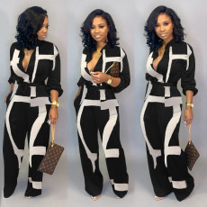 Plus Size Printed Long Sleeve Sashes Jumpsuits LSD-8615