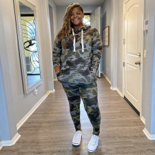 Plus Size Camo Print Hooded Two Piece Suits OSIF-20935