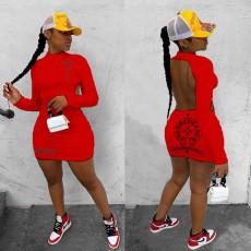 Plus Size Printed Backless Long Sleeve Mini Dress YIM-168