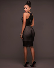 Sexy Mesh Hollow Out Knee Length Dress OSM-6035