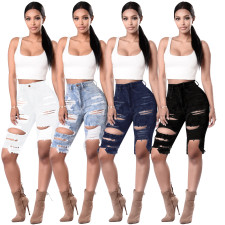Denim Ripped Hole Knee Length Jeans HSF-2067