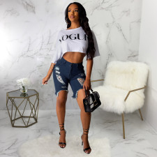 Denim Ripped Hole Jeans Shorts HSF-2075