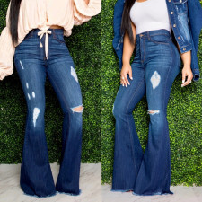 Plus Size Denim Ripped Hole Flared Jeans HSF-2256